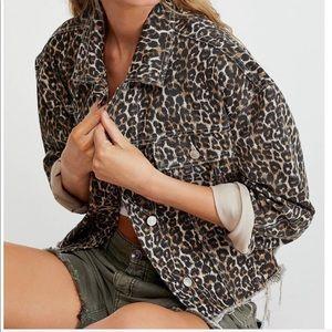 Free People oversized cheetah print denim jacket
